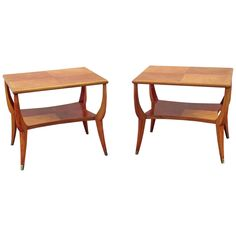 Arturo Pani Pair of Side Tables in Wood and Bronze | From a unique collection of antique and modern side tables at https://www.1stdibs.com/furniture/tables/side-tables/