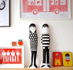 Scandinavian Jen and Joe screen printed Jane Foster plush toys  - #modern #kids