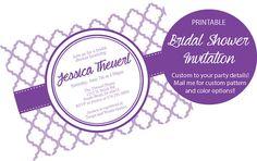 Bridal Shower Invitation - Printable Bridal Shower Themed quatrefoil Invite - Colors and Text Customizable