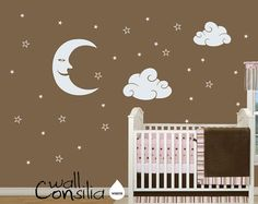 Baby Nursery Wall Decal - Moon, Stars and Clouds Wall Decal - Nursery decor - Nursery Wall Sticker - W019