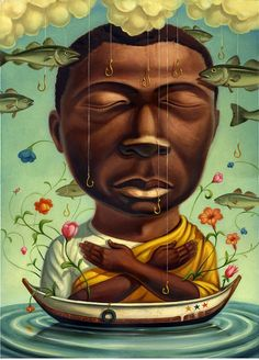 painting by chris buzelli of a man with arms crossed on a small boat with flying fish all around him Ghana, Claudia Tremblay, Fantasy Portraits, Daddy, Lowbrow Art, Arte Popular, Pop Surrealism, Outsider Art, Surreal Art