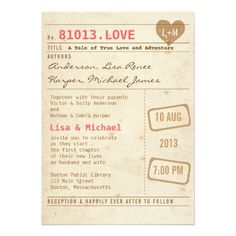 Vintage Library Card Wedding Invitation. would also be cute for a shower invite