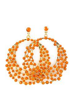 Orange Hoops Trendy Jewelry Fashion Necklaces Earrings Box