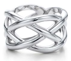 1267eac9a Details about Geometric Ring Woven Crisscross Sterling Silver PL Band Size  6-9