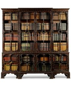 Breakfront library bookcase, carved mahogany with glazed doors, ca. 1760 Breakfront library bookcase, carved mahogany with glazed doors, ca. Rustic Furniture, Antique Furniture, Home Furniture, Shaker Furniture, Antique Desk, Outdoor Furniture, Home Libraries, Book Nooks, Shelving