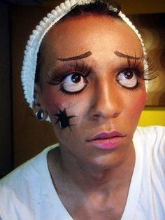 Cracked doll Halloween makeup!