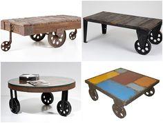 mesas vintage con ruedas de carro 6