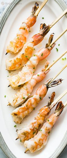 Grilled Garlic Shrimp Skewers ~ Easy grilled shrimp basted with garlic butter. It's shrimp on a stick! ~ SimplyRecipes.com