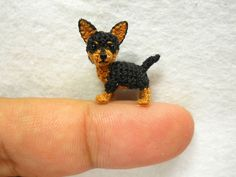Black Chihuahua Dog Tan – Amigurumi Crochet Small Dog Animal Things – Made to Measure … - Stofftiere Kawaii Crochet, Cute Crochet, Crochet Toys, Crochet Animal Patterns, Stuffed Animal Patterns, Crochet Animals, Black Chihuahua, Chihuahua Dogs, Selling Handmade Items