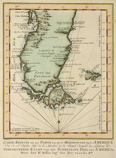 Historic map of PATAGONIA, plus FALKLANDS/MALVINAS (1764) by Douglas Fernandes