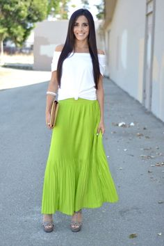 455b0d37b0b9 Discover this look wearing Chartreuse Pleated Maxi Old Navy Skirts, White  Target Ts, Shirts - Neon Pleated Maxi Skirt by FrancescaPenko styled for  Chic, ...