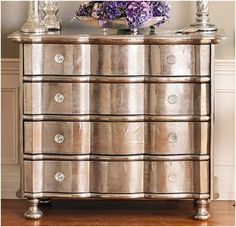Why did I never think of this?!?! Metallic paint on old wood furniture, instant glam!