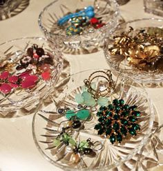 little dishes. I like the idea of organizing baubles by color