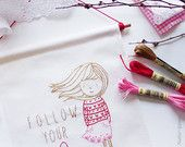 Follow your heart, Inspirational sayings, Banner flag, Expressions, Embroidery gift, Craft kits for girls, Handmade needlecrafts, Craft idea