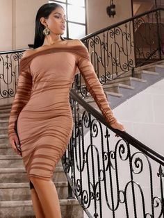 Nude Mesh Overlay Off Shoulder Long Sleeve Bodycon Dress – Divas Fashions