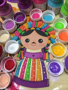 Muñeca María Mexican Style Decor, Fall Crafts, Arts And Crafts, Mexican Fiesta Party, Trunk Or Treat, Happy Art, Love Craft, Casino Party, Drawing For Kids