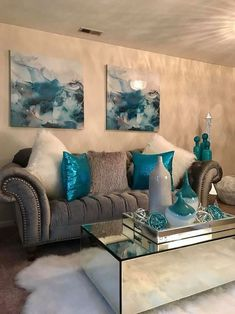 Silver Living Room, Living Room Turquoise, Teal Living Rooms, Living Room Decor Cozy, New Living Room, Living Room Designs, Living Room Ideas Grey And Blue, Small Living, Living Area