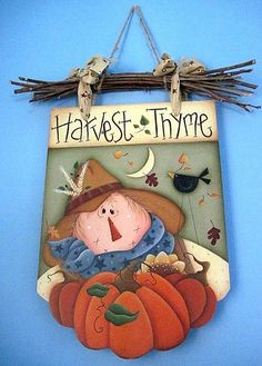 Scarecrow harvest thyme country painting wall decor via Etsy