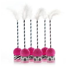 The Cakepop Craze is in full swing and there's never been a more fashionable way to show off your baked goodies in style. With a patterned stand, a stripey stem and a fabulous feather topper, these Cakepop Kits are designed to coordinate perfectly with Doc Milo's Invitation and Partyware Suites and are guaranteed to be the centerpiece of your next celebration!*10 Cakepop Stands with Striped Sticks