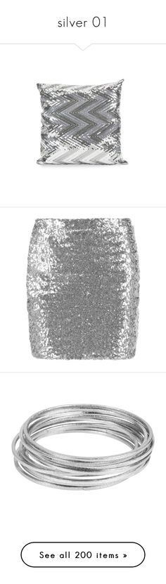 """silver 01"" by catharine-polyvore ❤ liked on Polyvore featuring home, home decor, throw pillows, pillows, silver home accessories, sequin throw pillow, silver throw pillows, silver sequin throw pillow, silver home decor and skirts"