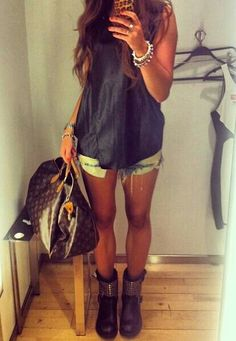 summer outfit. Biker boots, cutoff shorts and a cute shirt.