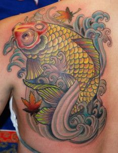 koi fish tattoo design for women on shoulder