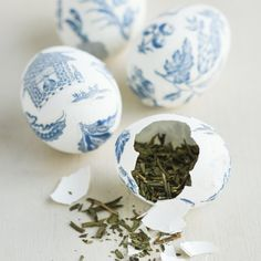 Blue China Tea Eggs. Inspired by confetti-filled cascarones, but filled with French loose leaf tea instead!