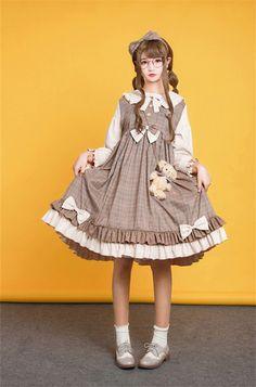 My-Lolita-Dress Official — LolitaUpdate:Miss Owl~ Sweet Lolita OP Dress... Harajuku Fashion, Lolita Fashion, Kawaii Fashion, Cute Fashion, Girl Fashion, Fashion Outfits, Kawaii Dress, Kawaii Clothes, Cute Dresses