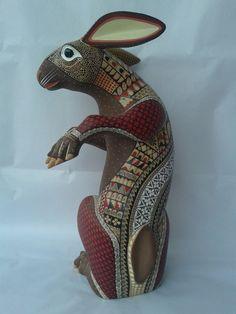Brown Rabbit Alebrije  Genuine Oaxacan Wood by OaxacanArtists