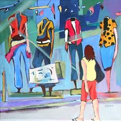 Daily Painting Window Shopping contemporary urban landscape with figures, painting by artist Carolee Clark