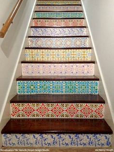Perfect 12 Stencil Ideas For Your Stairs   Paint Stair Risers With DIY Design |  Painted Stair Risers, Paint Stairs And Moroccan