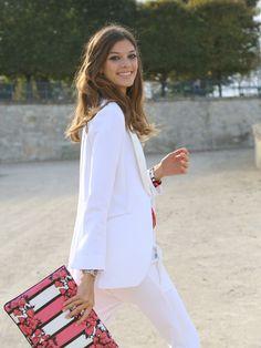 all white. #MartaOrtiz #offduty in Paris.