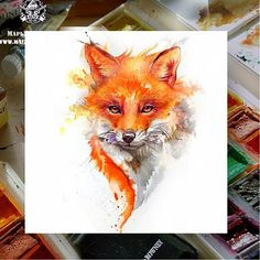 Pin by elena anoshkina on рисование idei tatuaje, desene, pi Fox Painting, Painting & Drawing, Cute Drawings, Animal Drawings, Fuchs Tattoo, Fox Pictures, Fox Drawing, Fox Art, Watercolor Animals