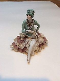 Antique-Art-Deco-flapper-porcelain-pincushion-doll-arms-away-with-legs