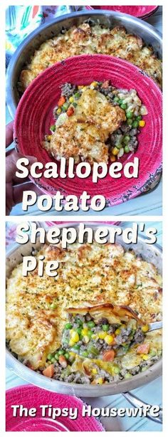 A one skillet dinner with savory ground beef, veggies and scalloped potatoes. Perfect for an easy weeknight meal, tough day dinner, or Sunday supper. You can also make this casserole ahead of time, freeze it and bake it later. Scalloped Potatoes Easy, Scallop Potatoes, Slow Cooker, Baked Pork Chops, Pork Chop Recipes, Sausage Recipes, Casserole Recipes, Pasta, Fries In The Oven