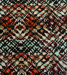 Poly Spandex Knit Fabric - Abstract Geo Brown Teal