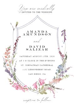 Meadow Watercolor Floral - Wedding Invitation #invitations #printable #diy #template #wedding