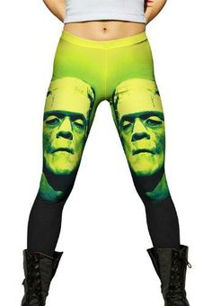 Popart Frankenstein Leggings, Tees, Tanks - in Yellow/Green or Pink/Purple - http://amzn.to/1fOuNsQ