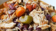 Easy & Healthy Chicken Stew from Giada De Laurentiis (celery, carrots, onion, canned tomatoes, broth, basil, thyme, bay, chicken, kidney beans)