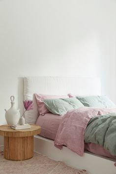 Lilac French Linen Dreamy hues of purple, lilac and sage green french linen bedding. Linen Bedroom, Bedroom Inspo, Home Bedroom, Bedroom Decor, Linen Bedding, Bedroom Signs, Bedroom Rustic, Master Bedrooms, Bedroom Apartment