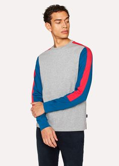 Paul Smith Men's Grey Marl Long-Sleeved T-Shirt With Colour Panels