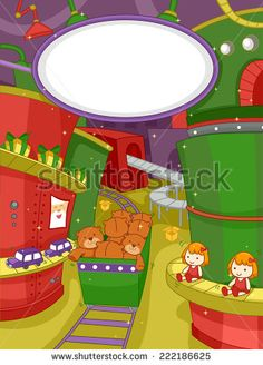 Illustration Featuring a Scene at a Christmas Toy Factory - stock vector