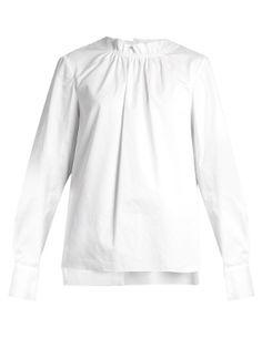 Smocked-neck cotton-poplin top | Tibi | MATCHESFASHION.COM US