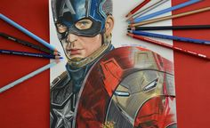 DRAWING CAPTAIN AMERICA Colored pencils drawing of Captain America Civil War. @isabelgiannuzzi #captainamerica #marvel #drawings #draw #pencils