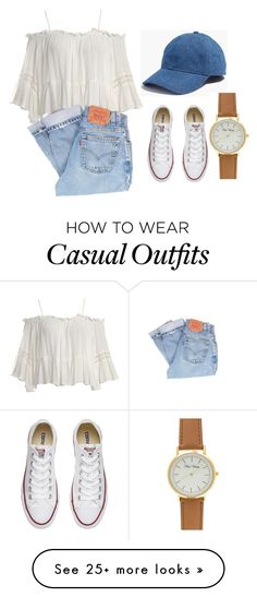 """""""casual day bell sleeve"""" by kingkaila on Polyvore featuring Sans Souci, Levi's, Madewell and Converse"""