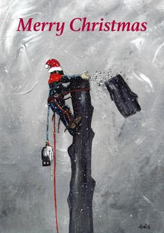 A4 print Arborist ,Tree Surgeon using stihl 020T chainsaw,husqvarna,art painting Christmas Present by JapaneseKoiPainting on Etsy