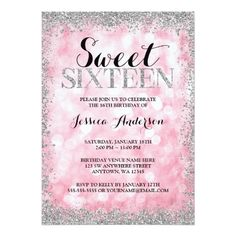 Sweet Sixteen Birthday Party Invitation Pink Silver Faux Glitter Lights Sweet 16 Birthday Card