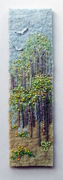 Signs of Spring 4 by Jo Wood felt,bead and embroidery picture or book mark design - love her stuff (H) Beaded Embroidery, Embroidery Stitches, Hand Embroidery, Embroidery Designs, Jo Wood, Felt Pictures, Textiles, Art Textile, Felt Art