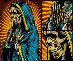 Santa Muerte by Pale Horse Design Horse Illustration, Digital Illustration, Parks, Heavy Metal Art, Pale Horse, Skull Design, Horse Art, Religious Art, Skull Art