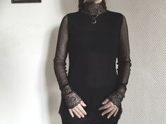 Vintage sheer lace Victorian-inspired blouse - Thumbnail 1